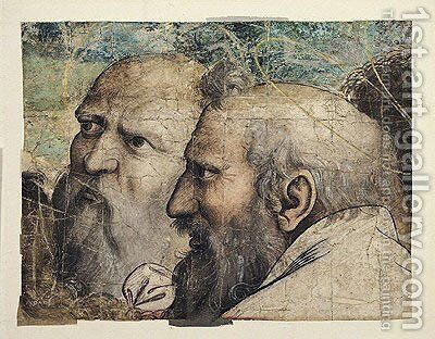 Two Heads, study for St. Peter Receiving the Keys to Heaven by (after) Raphael (Raffaello Sanzio of Urbino) - Reproduction Oil Painting