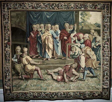 The Death of Ananias, from a series depicting the Acts of the Apostles, woven at the Beauvais Workshop under the direction of Philippe Behagle 1641-1705 1695-98 by (after) Raphael (Raffaello Sanzio of Urbino) - Reproduction Oil Painting