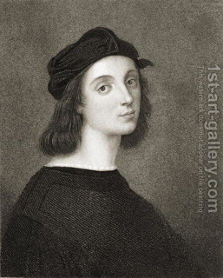 Raphael Raffaello Sanzio of Urbino 1483-1520 from Gallery of Portraits, published in 1833 by (after) Raphael (Raffaello Sanzio of Urbino) - Reproduction Oil Painting