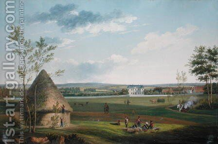 The Chateau dEtry and the Park Occupied by Cossacks in 1814 by J. Randon - Reproduction Oil Painting