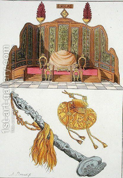 Throne of a Chinese Emperor, Yo-yo sceptre and cap, illustration from Le Costume Ancien et Moderne by Giulio Ferrario, published c.1820s-30s by Antonio Rancati - Reproduction Oil Painting