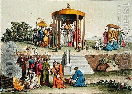 A Japanese wedding ceremony, illustration from Le Costume Ancien et Moderne by Giulio Ferrario, published c.1820s-30s by Antonio Rancati - Reproduction Oil Painting