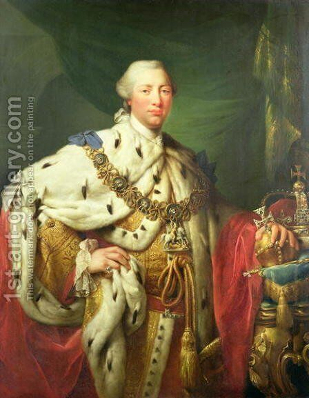 Portrait of George III 1738-1820 in his Coronation Robes, c.1760 by Allan Ramsay - Reproduction Oil Painting