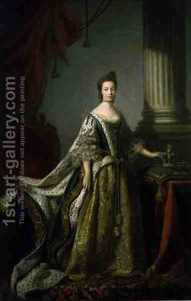 Queen Charlotte, Queen Consort of George III, c.1762-64 by Allan Ramsay - Reproduction Oil Painting