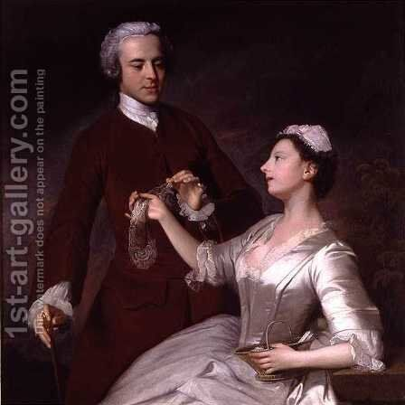 Portrait of Sir Edward and Lady Turner, 1740 by Allan Ramsay - Reproduction Oil Painting