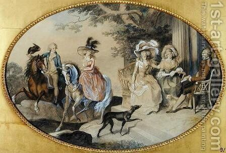 Lady St. Aubyn and her Family by Johann Heinrich Ramberg - Reproduction Oil Painting