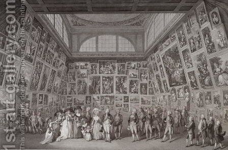 Interior view of Somerset House showing King George III (1738-1820), Queen Charlotte (1744-1818) and the Royal family viewing an exhibition of the Royal Academy of Arts in 1788, 1788 by Johann Heinrich Ramberg - Reproduction Oil Painting