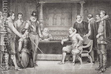 Guy Fawkes 1570-1606 interrogated by James I 1566-1625 and his council in the King's bedchamber, from Illustrations of English and Scottish History Volume I by (after) Ralston, William - Reproduction Oil Painting