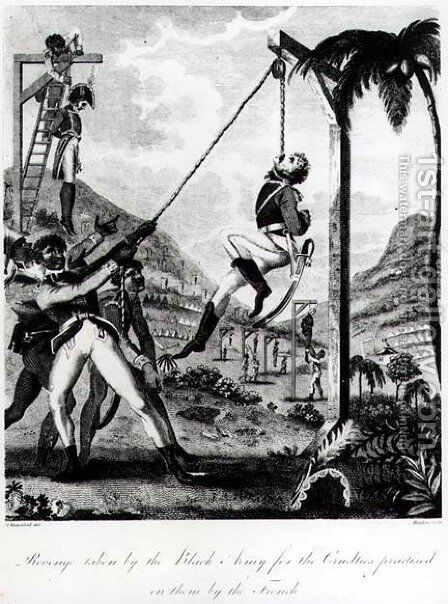 Revenge taken by the Black Army for the Cruelties practised on them by the French, engraved by Inigo Barlow, from An Historic Account of the Black Empire of Haiti, pub. 1805 by (after) Rainsford, Marcus - Reproduction Oil Painting
