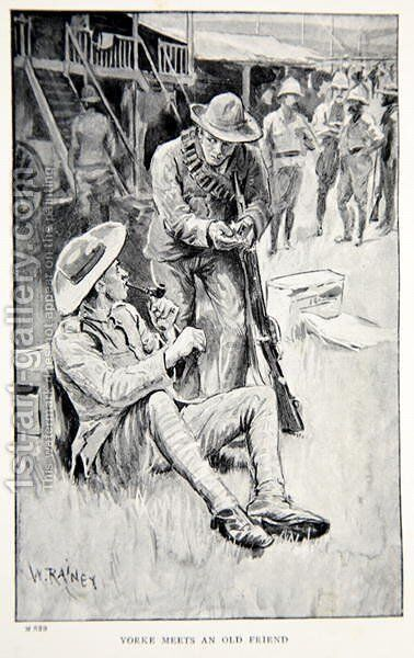 Yorke meets an old friend, an illustration from With Roberts to Pretoria: A Tale of the South African War by G.A. Henty, pub. London, 1902 by (after) Rainey, William - Reproduction Oil Painting