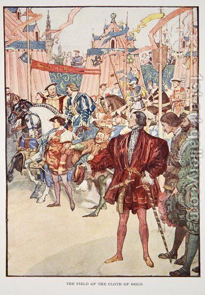 The Field of the Cloth of Gold, June 1520, illustration from The Story of France Told to Boys and Girls by Mary Macgregor, 1920 by (after) Rainey, William - Reproduction Oil Painting