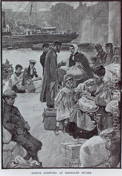 Aliens Arriving at Irongate Stairs, illustration from Living London, published 1901 by (after) Rainey, William - Reproduction Oil Painting
