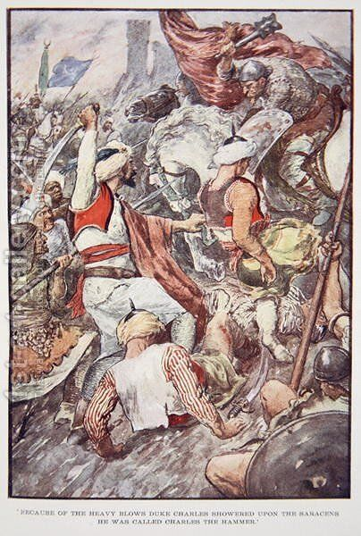 Because of the Heavy Blows Duke Charles Showered upon the Saracens he was Called Charles the Hammer, illustration from The Story of France Told to Boys and Girls by Mary Macgregor, 1920 by (after) Rainey, William - Reproduction Oil Painting