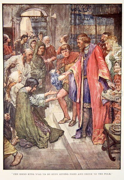 The Good King Was To Be Seen Giving Food And Drink to the Folk, illustration from The Story of France by Mary Macgregor, 1920 by (after) Rainey, William - Reproduction Oil Painting
