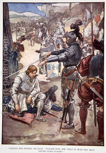 Taking his sword, he said Please God, Sir, that in war you may never take flight, illustration from The Story of France Told to Boys and Girls by Mary Macgregor, 1920 2 by (after) Rainey, William - Reproduction Oil Painting