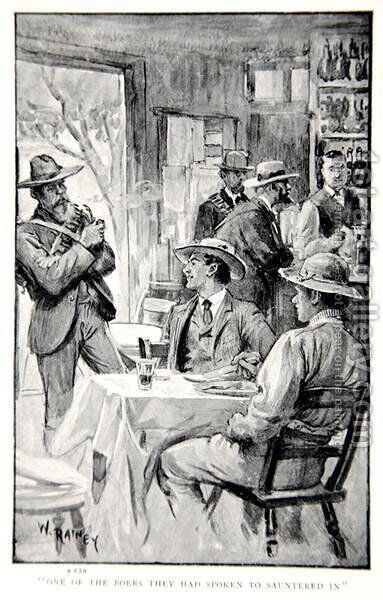 One of the Boers they had spoken to sauntered in, an illustration from With Roberts to Pretoria A Tale of the South African War by G.A. Henty, pub. London, 1902 by (after) Rainey, William - Reproduction Oil Painting