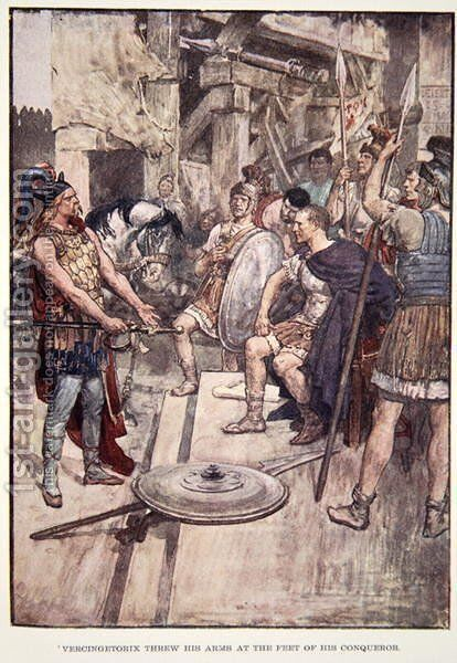 Vercingetorix Threw his Arms at the Feet of his Conquerors, plate from The Story of France by Mary MacGregor, 1920 by (after) Rainey, William - Reproduction Oil Painting