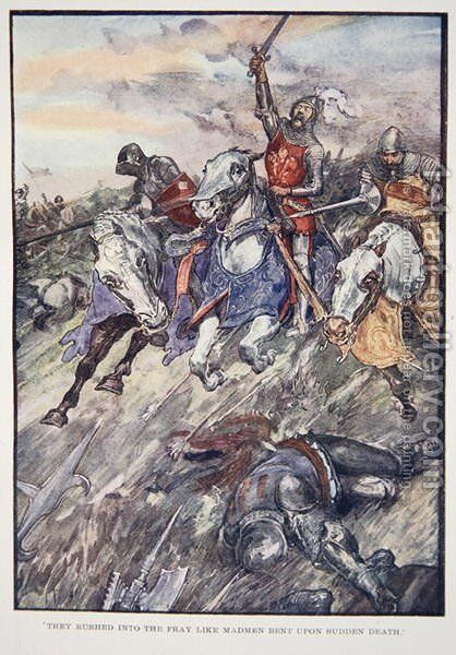 They Rushed Into The Fray Like Madmen Bent Upon Sudden Death, plate from The Story of France, by Mary MacGregor, 1920 by (after) Rainey, William - Reproduction Oil Painting