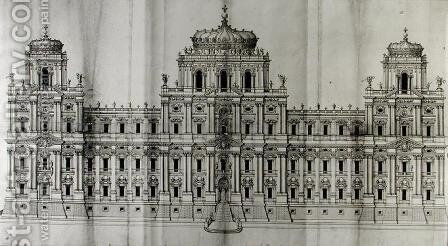 Project for the east facade of the Louvre, from Recueil du Louvre volume I fol. 10, 1664 by Carlo Rainaldi - Reproduction Oil Painting