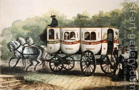 Enterprise Generale des Dames Blanches, omnibus from Madeleine to Porte Saint-Martin, c.1850 by Auguste Raffet - Reproduction Oil Painting