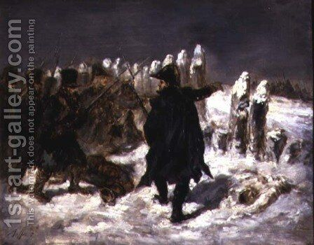 Marshal Michel Ney 1769-1815 at the redoubt of Kovno, 1812 by Auguste Raffet - Reproduction Oil Painting