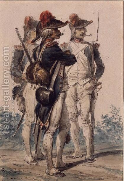 Soldiers of the Republic, 1849 by Auguste Raffet - Reproduction Oil Painting