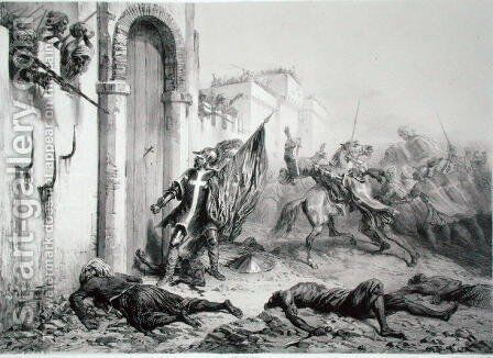 Ponce de Balagner at the Bab-Azoun Gate, from a volume commemorating the French Expeditionary Force which captured Algiers in 1830, engraved by Eugene Charles Francois Guerard 1821-66 by Auguste Raffet - Reproduction Oil Painting