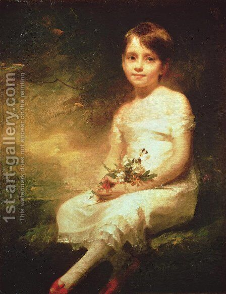 Little Girl with Flowers or Innocence, Portrait of Nancy Graham by Sir Henry Raeburn - Reproduction Oil Painting