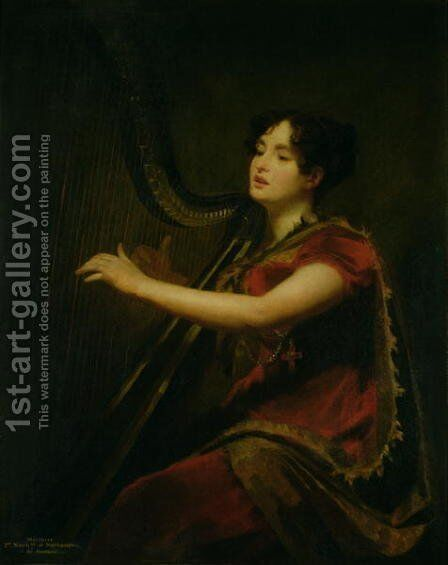 The Marchioness of Northampton, Playing a Harp, c.1820 by Sir Henry Raeburn - Reproduction Oil Painting