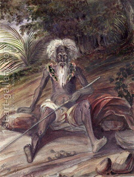 Old man from the Marquesas Islands, c.1842 by Maximilie Radiguet - Reproduction Oil Painting