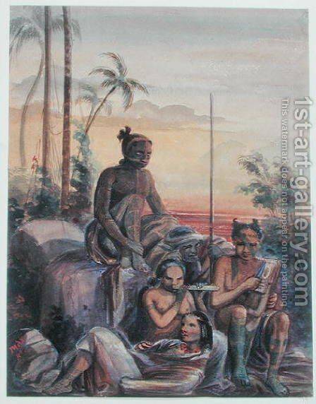 Inhabitants of the Marquesas Islands, c.1841-48 by Maximilie Radiguet - Reproduction Oil Painting