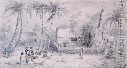Native village in Tahiti, c.1841-48 by Maximilie Radiguet - Reproduction Oil Painting