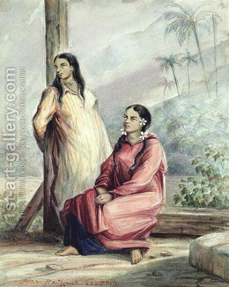 Two Tahitian Women, c.1841-48 by Maximilie Radiguet - Reproduction Oil Painting