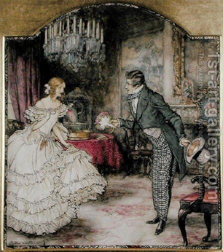 A young man presenting a bouquet to a girl standing in a drawing room by Arthur Rackham - Reproduction Oil Painting
