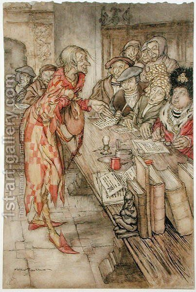 In did come the strangest figure, illustration from The Pied Piper of Hamelin, by Robert Browning by Arthur Rackham - Reproduction Oil Painting