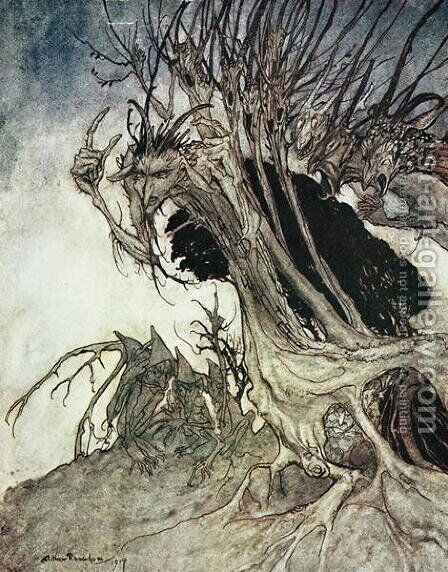 Calling shapes and beckoning shadows dire, from Comus by Milton, 1914 by Arthur Rackham - Reproduction Oil Painting