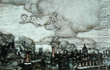 Peter Pan flying over London, illustration from Peter Pan by J.M. Barrie 1860-1937 by Arthur Rackham - Reproduction Oil Painting