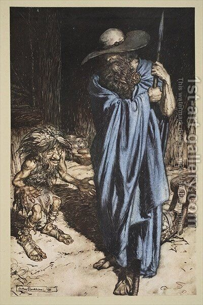 Mime and the Wanderer, from Siegfried and The Twilight of the Gods, 1910 by Arthur Rackham - Reproduction Oil Painting