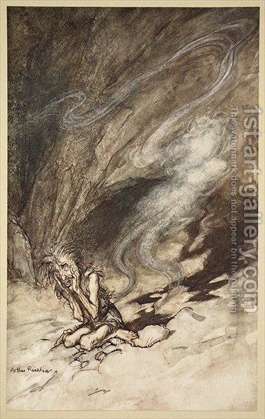 Mime writhes under the lashes he receives, illustration from The Rhinegold and the Valkyrie, 1910 by Arthur Rackham - Reproduction Oil Painting