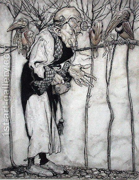 The Wizard, illustration from Arthur Rackhams Book of Pictures, published 1913 by Arthur Rackham - Reproduction Oil Painting