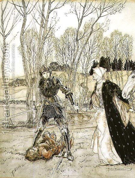 How Beaumains defeated the Red Knight, and always the damosel spake many foul words unto him by Arthur Rackham - Reproduction Oil Painting