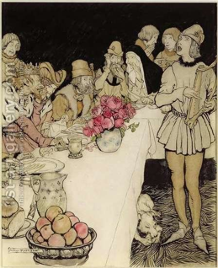 How at a great feast that King Mark made came Eliot the harper and sang the lay that Dinadan had made by Arthur Rackham - Reproduction Oil Painting