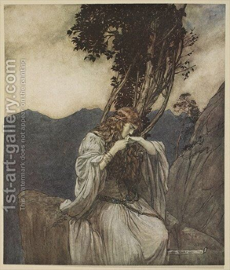Brunnhilde kisses the ring that Siegfried has left with her, illustration from Siegfried and the Twilight of the Gods, 1924 by Arthur Rackham - Reproduction Oil Painting