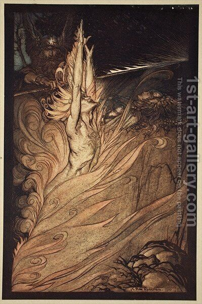 Appear, flickering fire, Encircle the rock with thy flame Loge Loge Appear, illustration from The Rhinegold and the Valkyrie, 1910 by Arthur Rackham - Reproduction Oil Painting