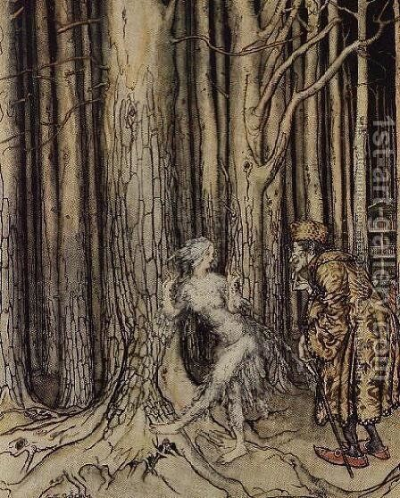 At last she met the bridegroom who was slowly coming back, illustration for Fitchers Bird, from Little Brother, Little Sister, by the Brothers Grimm, 1917 by Arthur Rackham - Reproduction Oil Painting