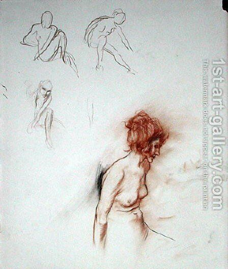 Seated Nude by Arthur Rackham - Reproduction Oil Painting