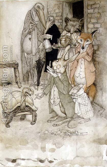 The Hare and the Tortoise, illustration from Aesops Fables, pub. by Heinemann, 1912 by Arthur Rackham - Reproduction Oil Painting