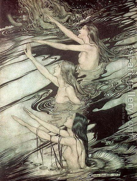 The Rhine Maidens, from Siegfried and The Twilight of the Gods by Richard Wagner, 1911 by Arthur Rackham - Reproduction Oil Painting