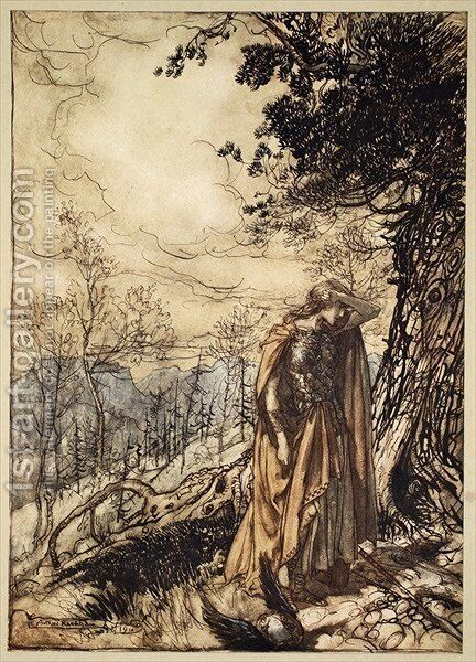 Brunnhilde stands for a long time, dazed and alarmed, illustration from The Rhinegold and the Valkyrie, 1910 by Arthur Rackham - Reproduction Oil Painting