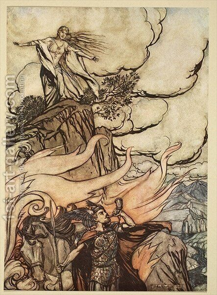 Siegfried leaves Brunnhilde in search of adventure, illustration from Siegfried and the Twilight of the Gods, 1924 by Arthur Rackham - Reproduction Oil Painting